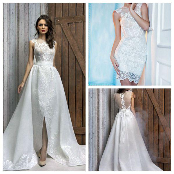 Simple Short Beach Lace Wedding Dresses 2015 With Detachable Skirt ...