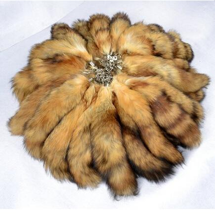 100% Ursfur Real Canadian Red Fox Fur Tail Keychain Sac Tassel Hanging Tag Strap