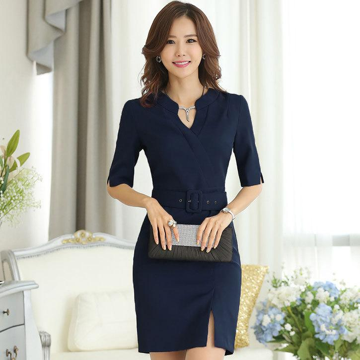 Spring Summer Korean Style Business Office Formal Dress For Work Wear 2015 New Elegant Half Slim ...