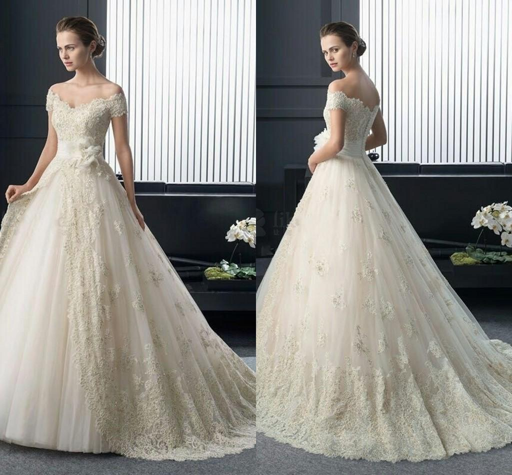 Luxury 2016 Wedding Dresses Ball Gown f Shoulder Lace