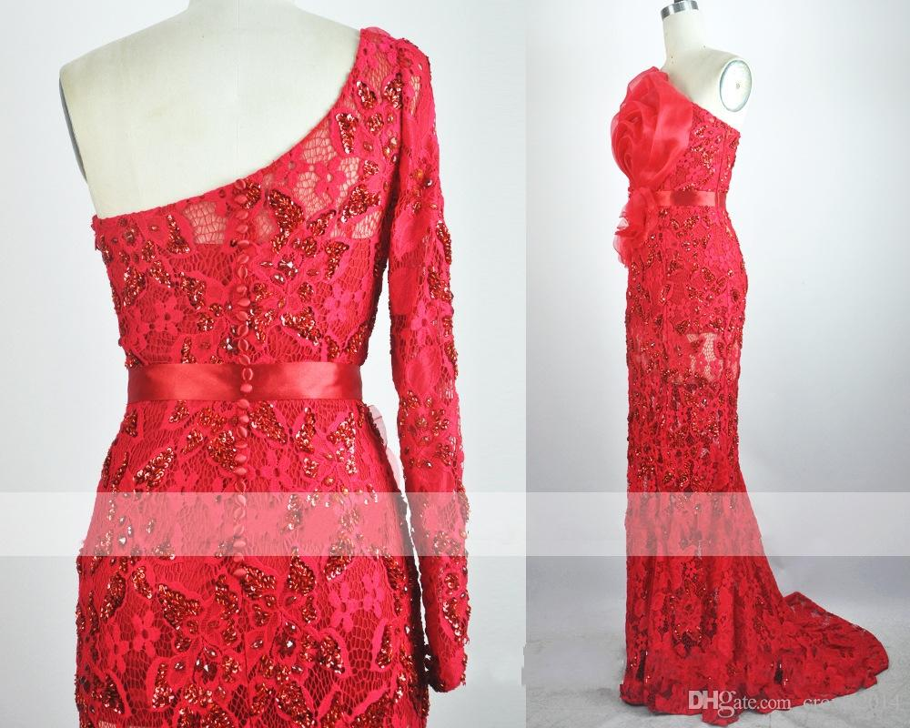 Red Lace Prom Dresses With Sleeves Sheath Lace Prom Dresses