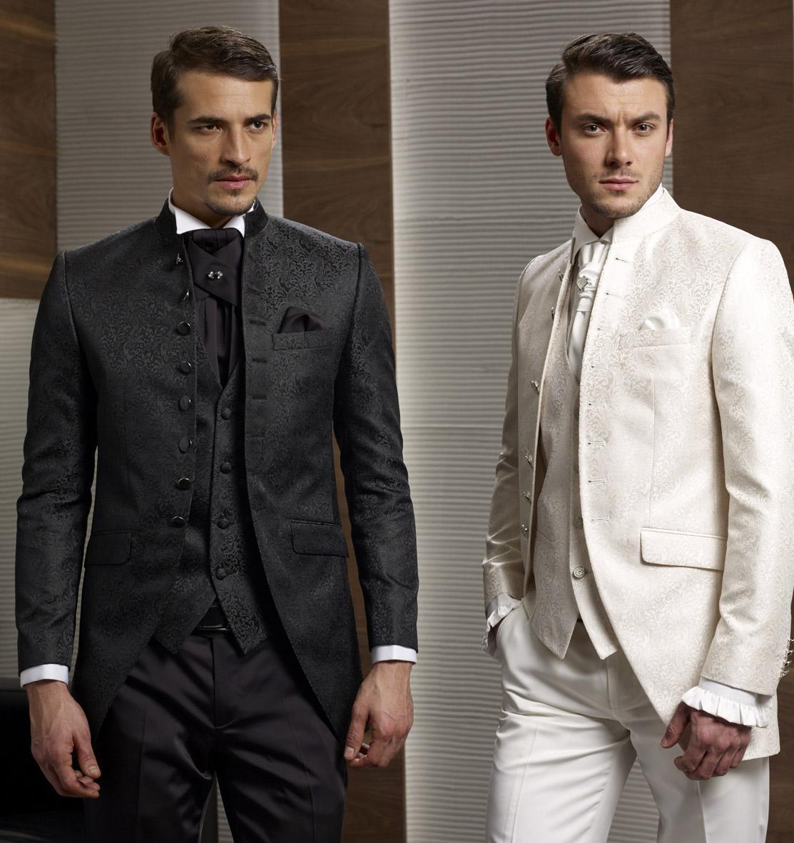 Custom Design Black/White Groom Tuxedos Stand Colar Best Men's ...