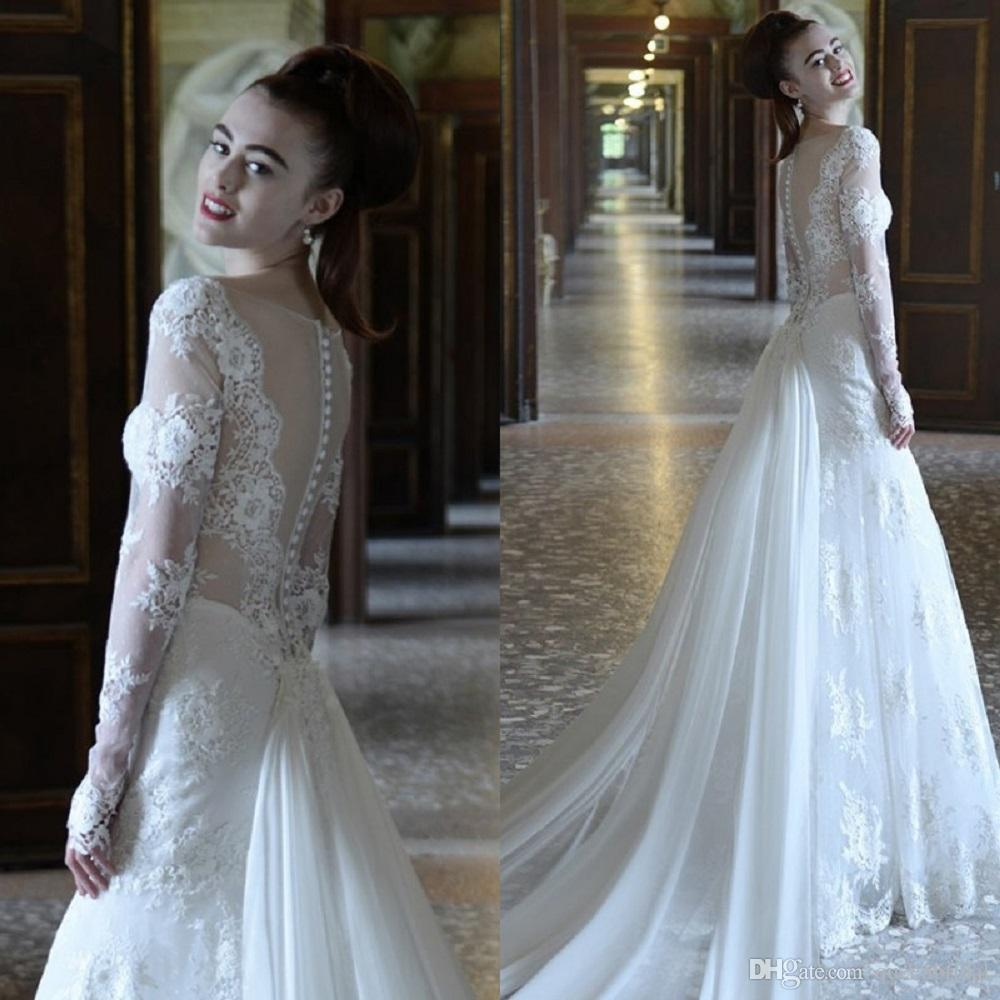 discount 2015 long sleeve lace wedding dress with detachable skirt covered button see through. Black Bedroom Furniture Sets. Home Design Ideas