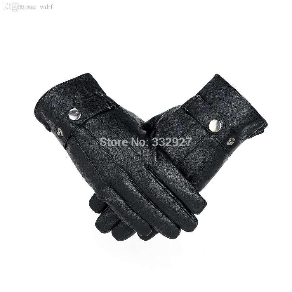 Mens leather gloves thin - Wholesale New Winter Men Genuine Leather Gloves Warm Leather Gloves Thin Sheepskin Gloves 01a