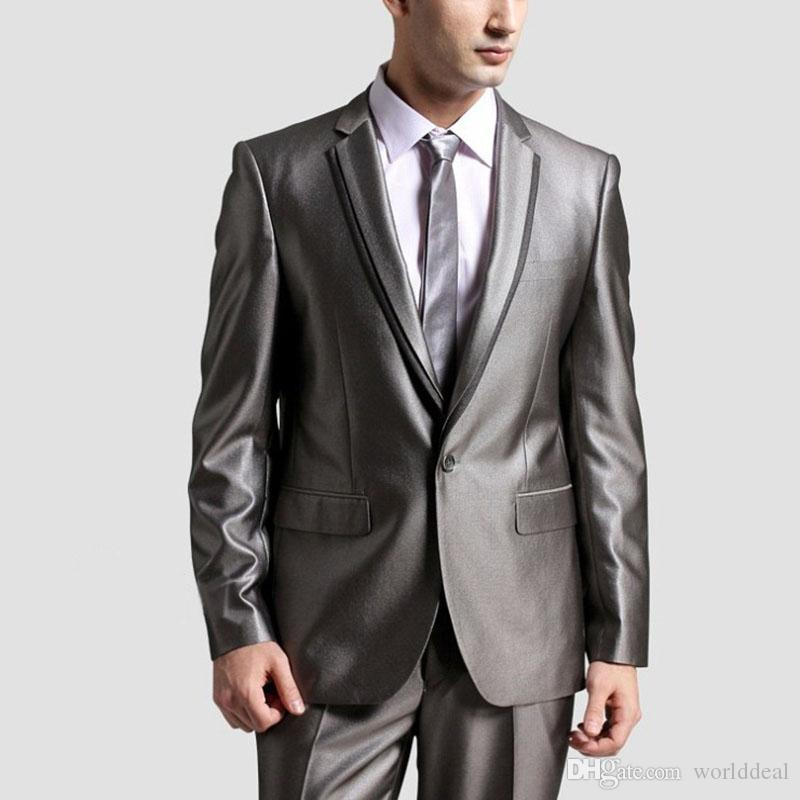 Fashion Lapel Style Suits Grey Coat Pants Formal Wear Sets Men's