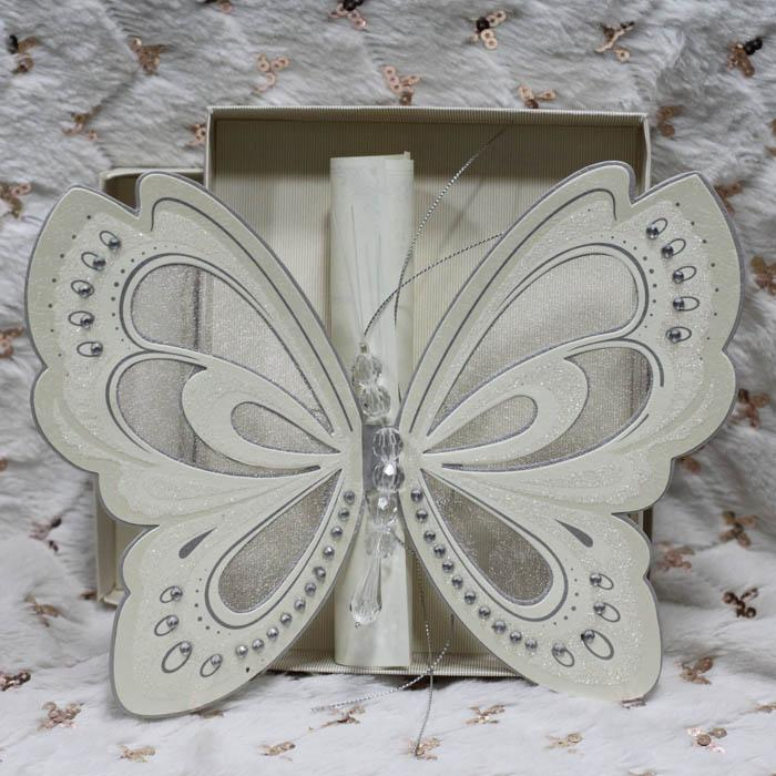 ivory handmade butterfly wedding cards personalized printing, invitation samples