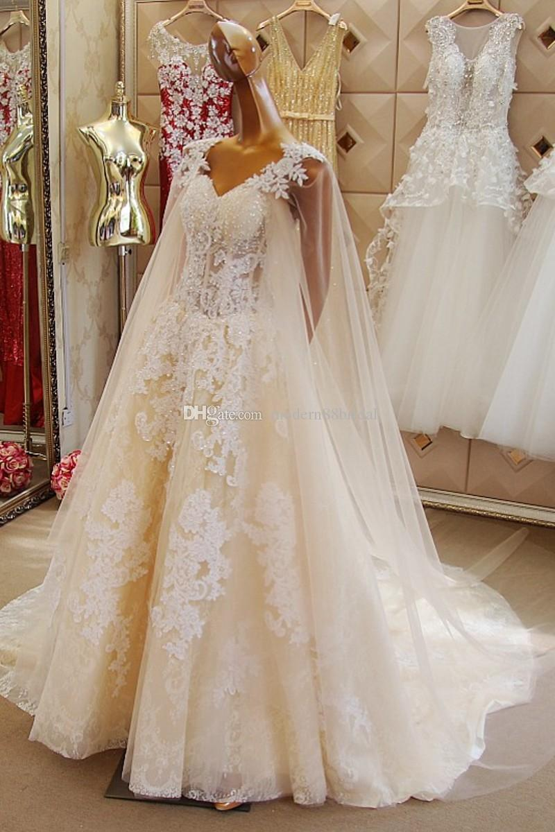 2015 Wedding Dresses Plus Size Sashes High Quality V Neck With Cape Appliques Long Train Organza