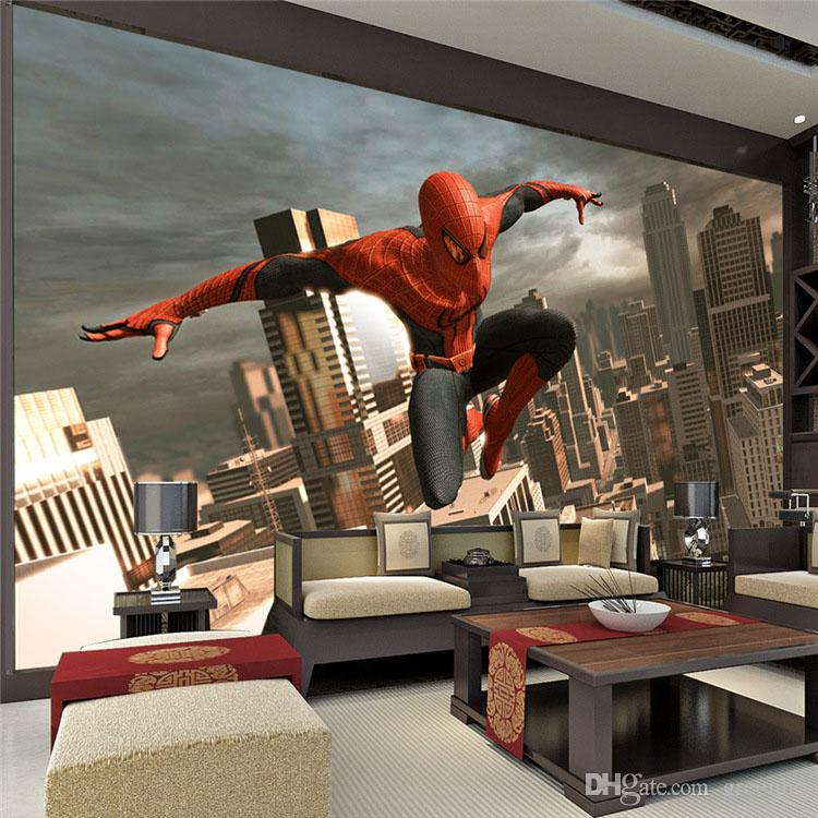 Spiderman wall mural superhero photo wallpaper custom 3d for Poster jugendzimmer