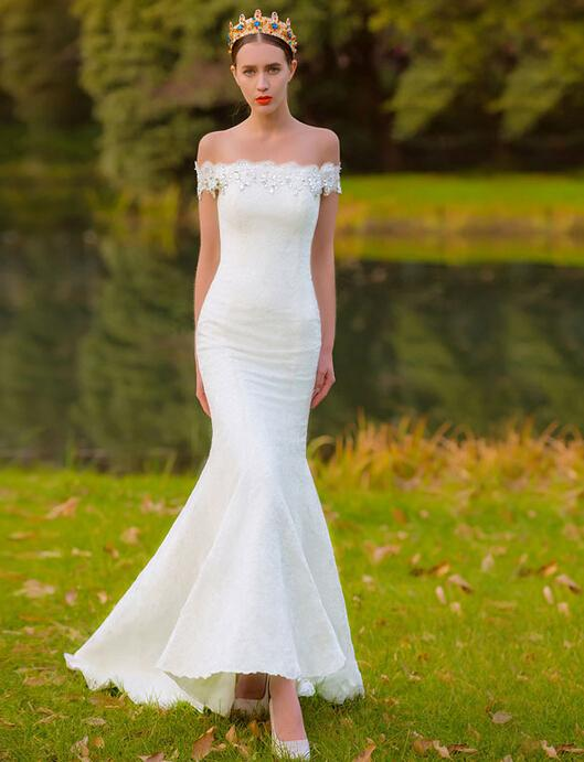 Off the shoulder lace wedding dress with beads short trail for Long sleeve slim wedding dresses