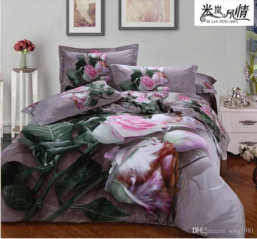 Pink rose juego de cama queen size 3d juego de cama for Sabanas para cama king size precios