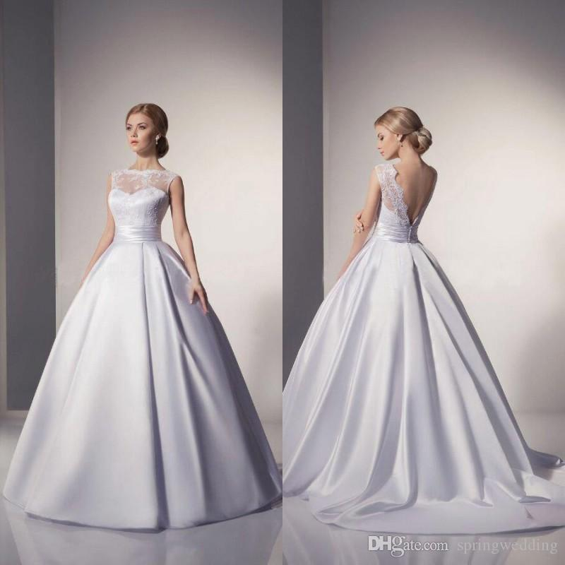 2016 Cheap Elegant In Stock Lace Wedding Dresses White Ball Gown Floor Length Bridal Gowns Vestidos De Noiva