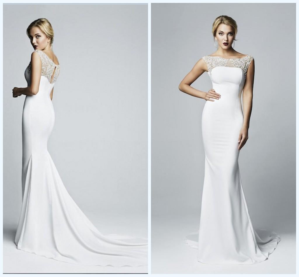 2015 Mermaid Spandex Tight Maxi Wedding Dresses With Cap