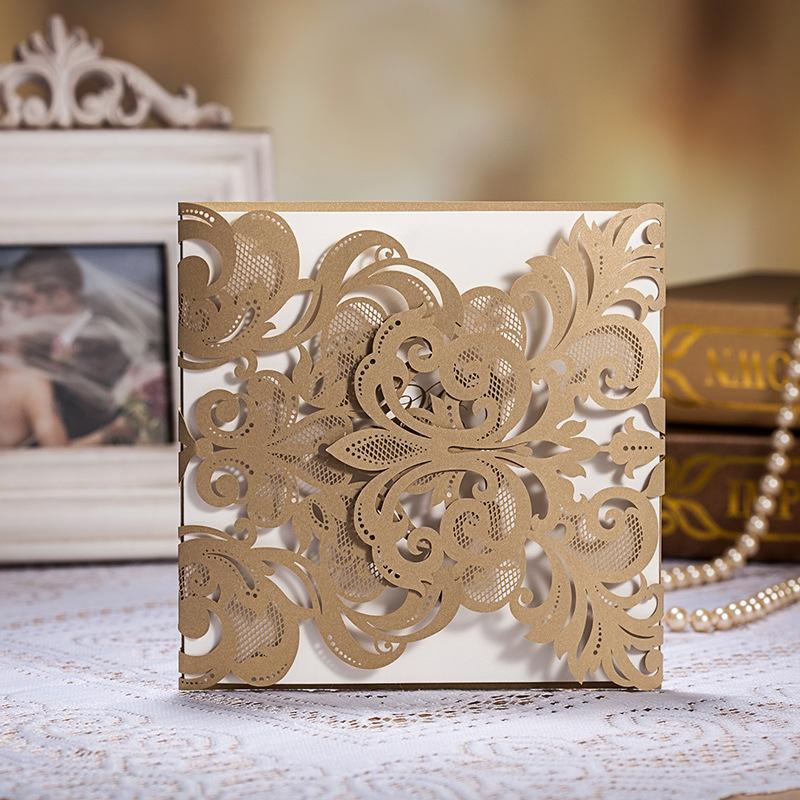 Laser Cut Wedding Invitations Gold Wedding Invitation Card Flowers – Free Customizable Party Invitations