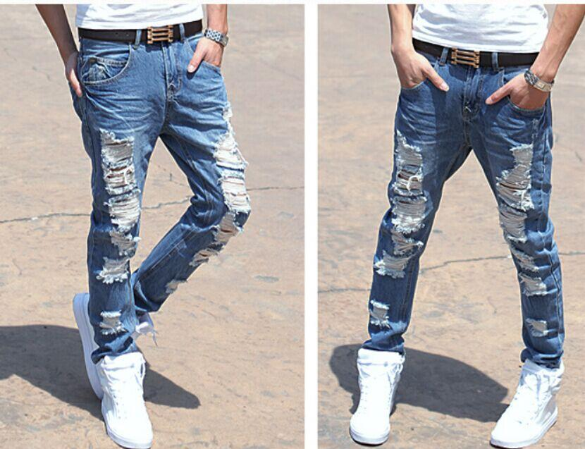 Korean Fashion Jeans Pants Men Jeans Ragged Beggar Jeans Online ...