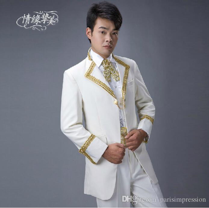 Real Image Gold Embroidery Edges Notched Lapel Men Suits White ...