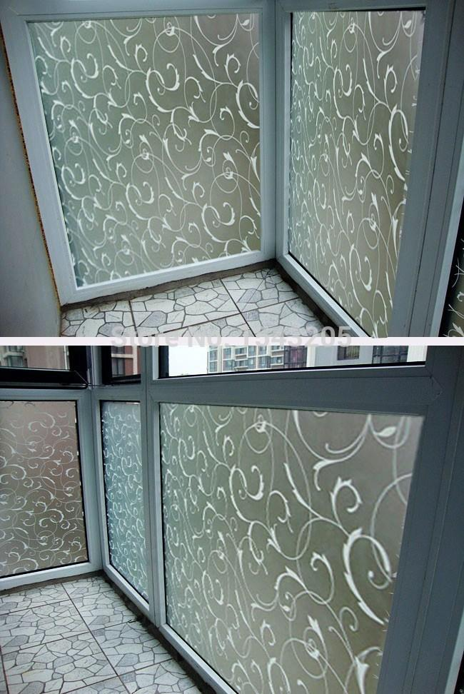 45x100cm PVC Home Frosted Sticker Glass film Privacy Scroll Flower  Removeable Window Cling Self Adhesive Film. 45x100cm Pvc Home Frosted Sticker Glass Film Privacy Scroll Flower