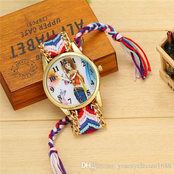 2015 fashion women ladies girls Handmade Braided weave watch eiffel tower cartoon mix design dress bracelets wrist watches 10pcs lot
