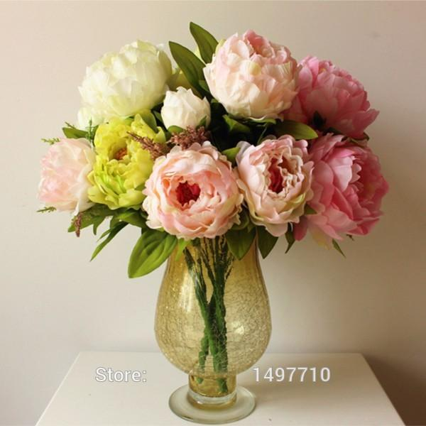 High Quality Silk Flowers Artificial Peony Flowers For Decoration 4 Colors Beautiful Wedding Decorative Flower 7
