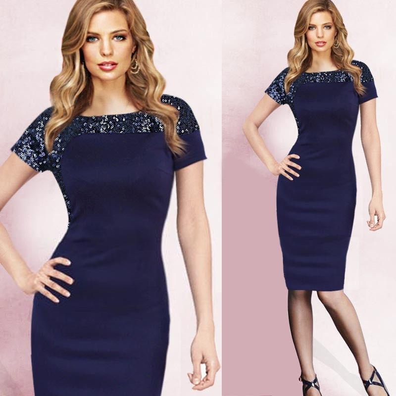 Cheap navy blue office dress - Dress on sale