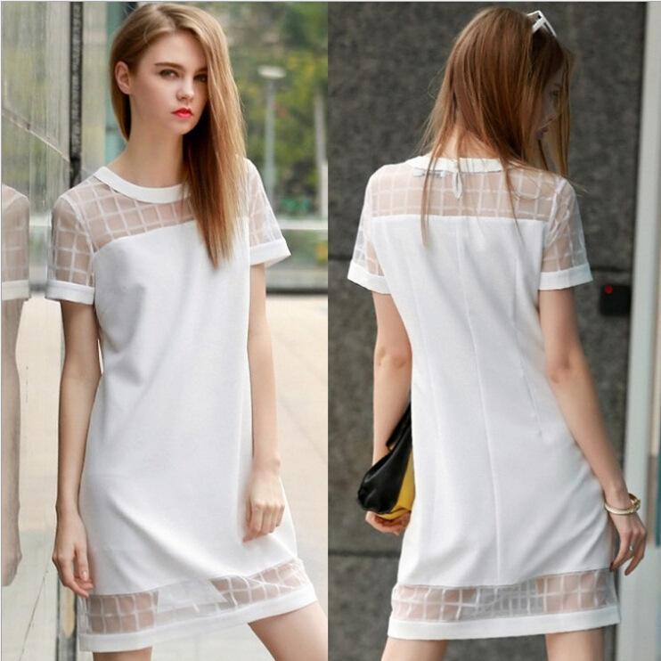 Elegant White Gauze Shift Dress Summer Short Sleeve Mini One-piece ...