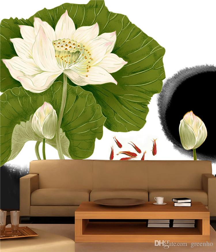Large View Chinese Style Lotus Wall Mural Art Mural Decal Elegant Scenery  Wallpaper Hotel Background Living Bedroom Kids Rooms Photo Wallpaper Wall  Mural ...