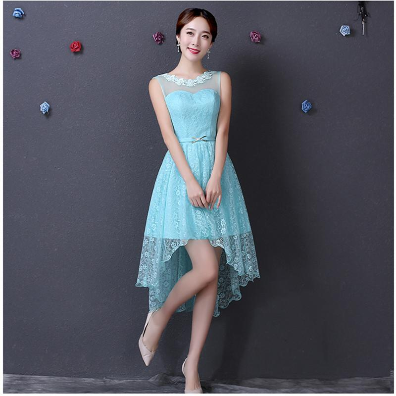 High Low Short Lace Prom Dress in Ice Blue Sleeveless Low Back ...