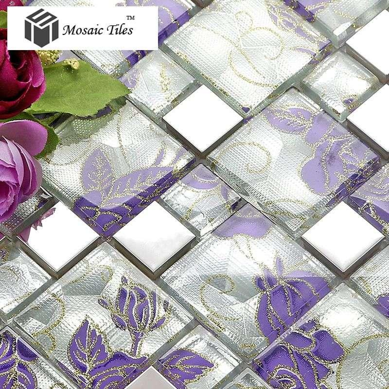 best 11 sheets purple glass mosaic tile backsplash stainless steel