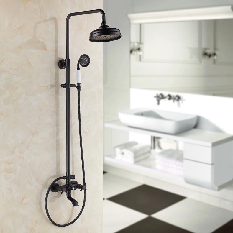 black brass rotatable lifting shower set faucet dual handles bathroom shower mixer tap with handshower shower mixer tap black antique brass faucet online