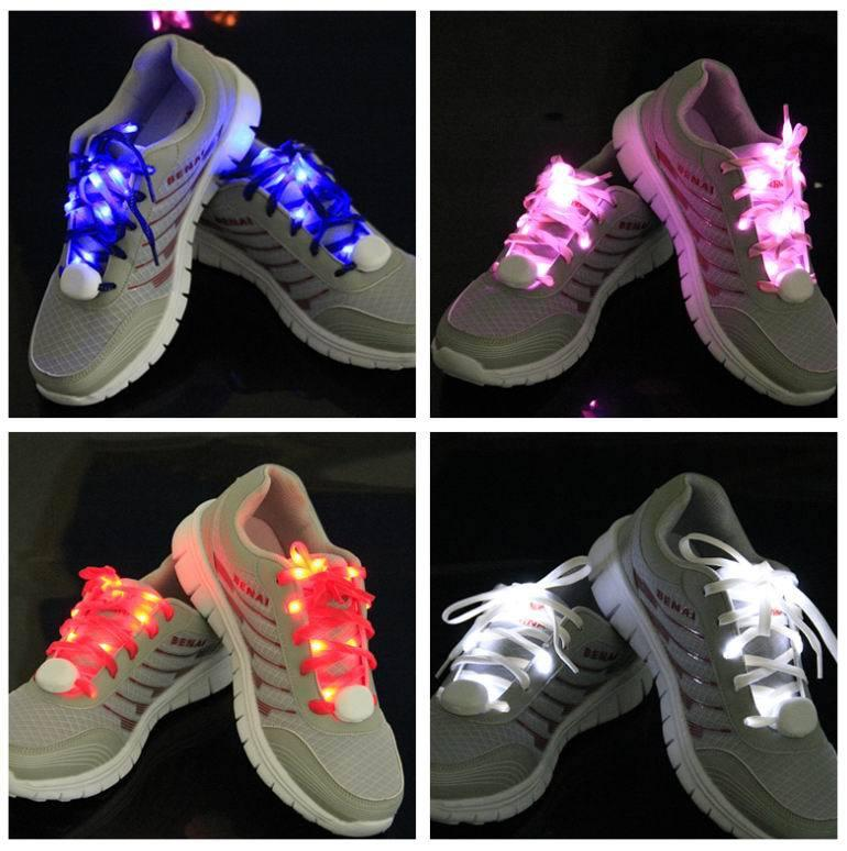LED Flashing Lighted Up Chaussures Nylon Hip Hop Shoelaces Lumière Flash Light U