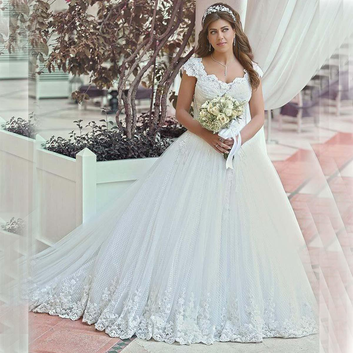 Plus Size Wedding Dresses 2015 With Cap Sleeves Vintage