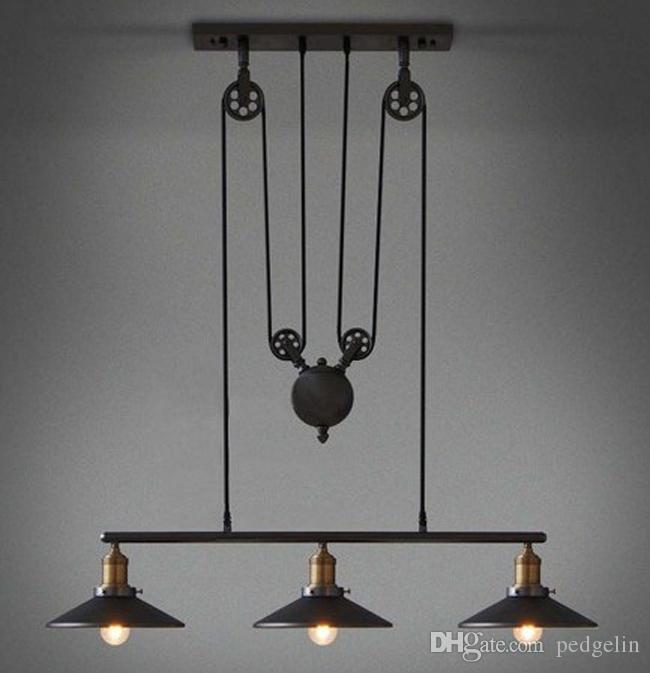 Amazing 3 Head Vintage Iron RH Loft Industrial LED American Country Pulley Pendant  Lights Adjustable Wire Lamps Retractable Bar Lighting With Mirror Pendant  Lights ...
