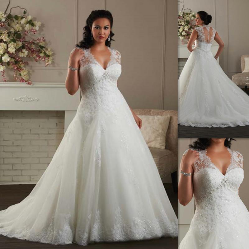 Plus Size Wedding Dresses 2016 Cap Sleeves A-line White Tulle ...