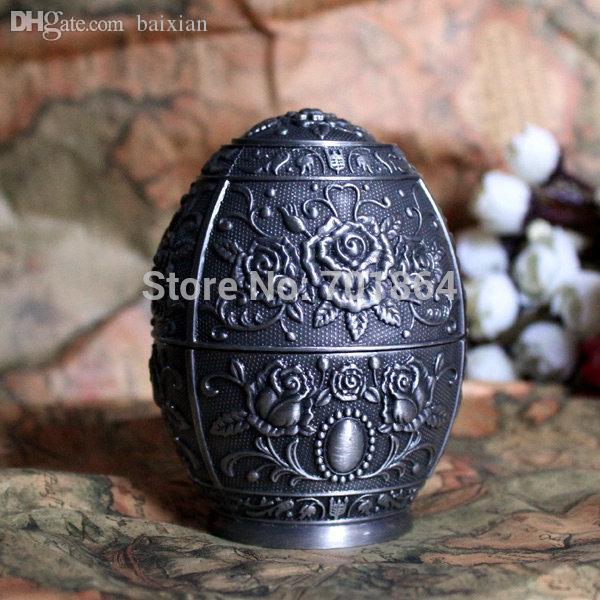 Best Wholesale Vintage Home Decor Egg Shaped Automatic Toothpick Holder Rose Flower Carved Metal Art Table Decoration Under 26 13 Dhgate Com