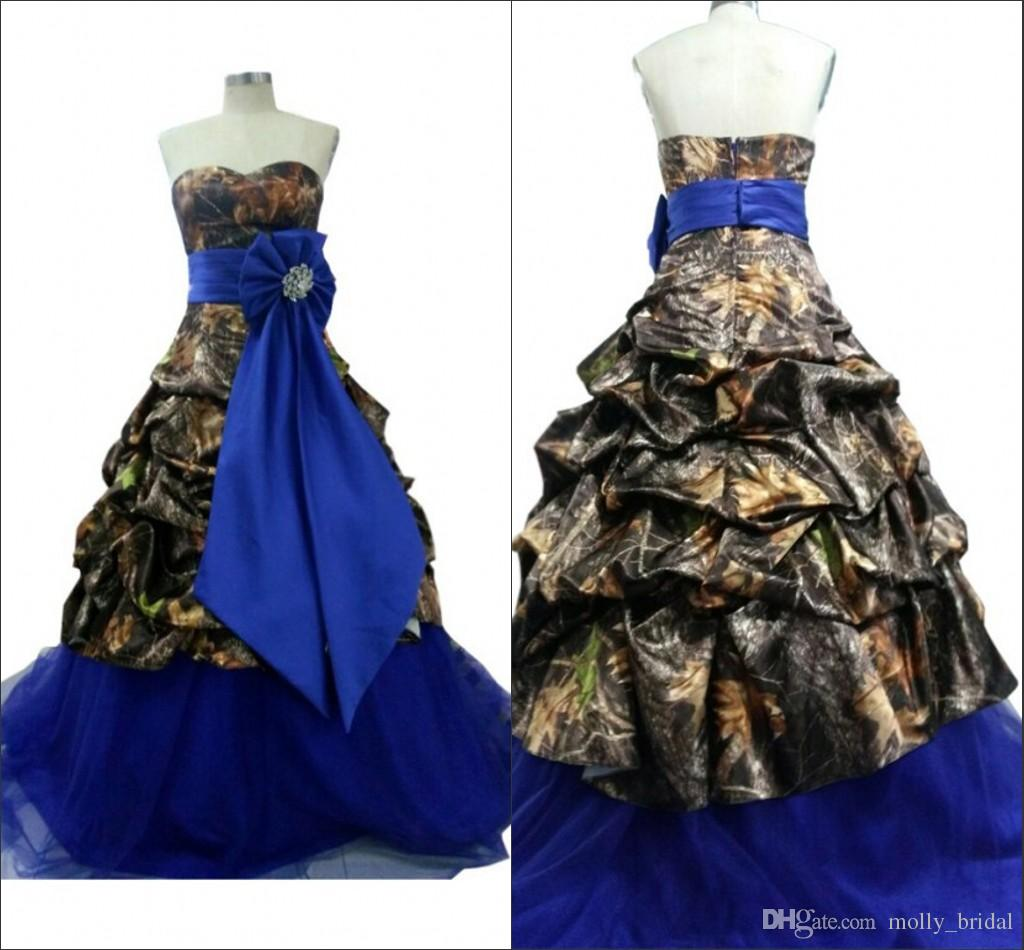 2016 new designer camo bridal dresses royal blue bow
