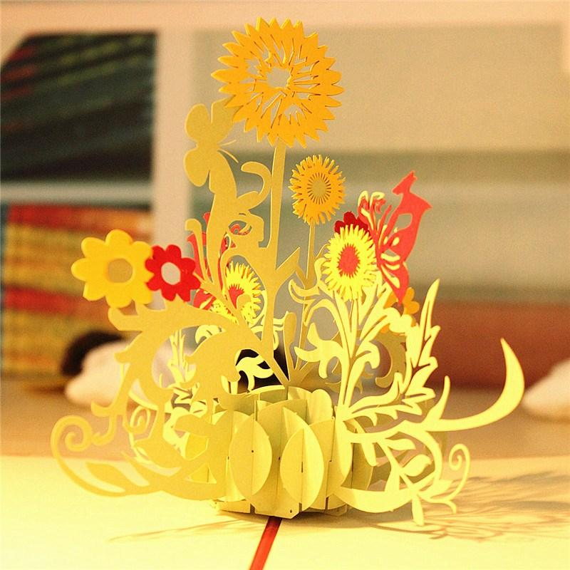 3DSunflower Pop Up Greeting Card Birthday Child Handmade Paper Art – Birthday Card for Child