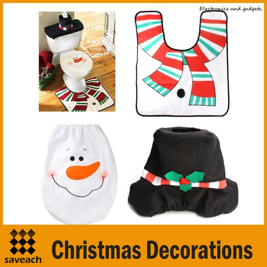 Christmas Decorations Snowman Bathroom Toilet Seat Cover And Rug Set Bathroom Set High Quality