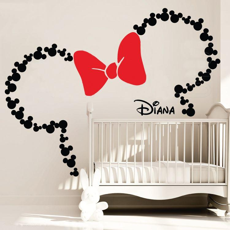 Mickey Mouse Inspired ears with Bow u0026 PERSONALIZED BABY NAME Minnie Mouse  Inspired wall decals Nursery Kids Room Decoratio