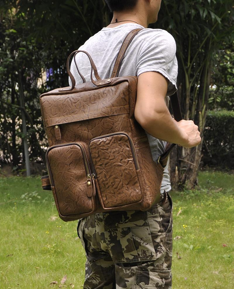 Vintage 15 Inch Crazy Horse Leather Backpack for Laptop,travel ...