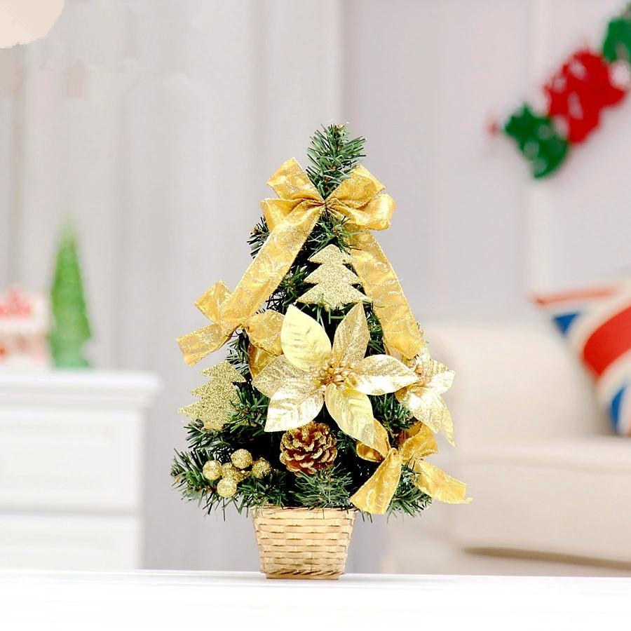 Tiny christmas tree ornaments - Hot Sale 35cm Golden Bow Decoration Small Christmas Tree Office And House Desk Decoration Artificial