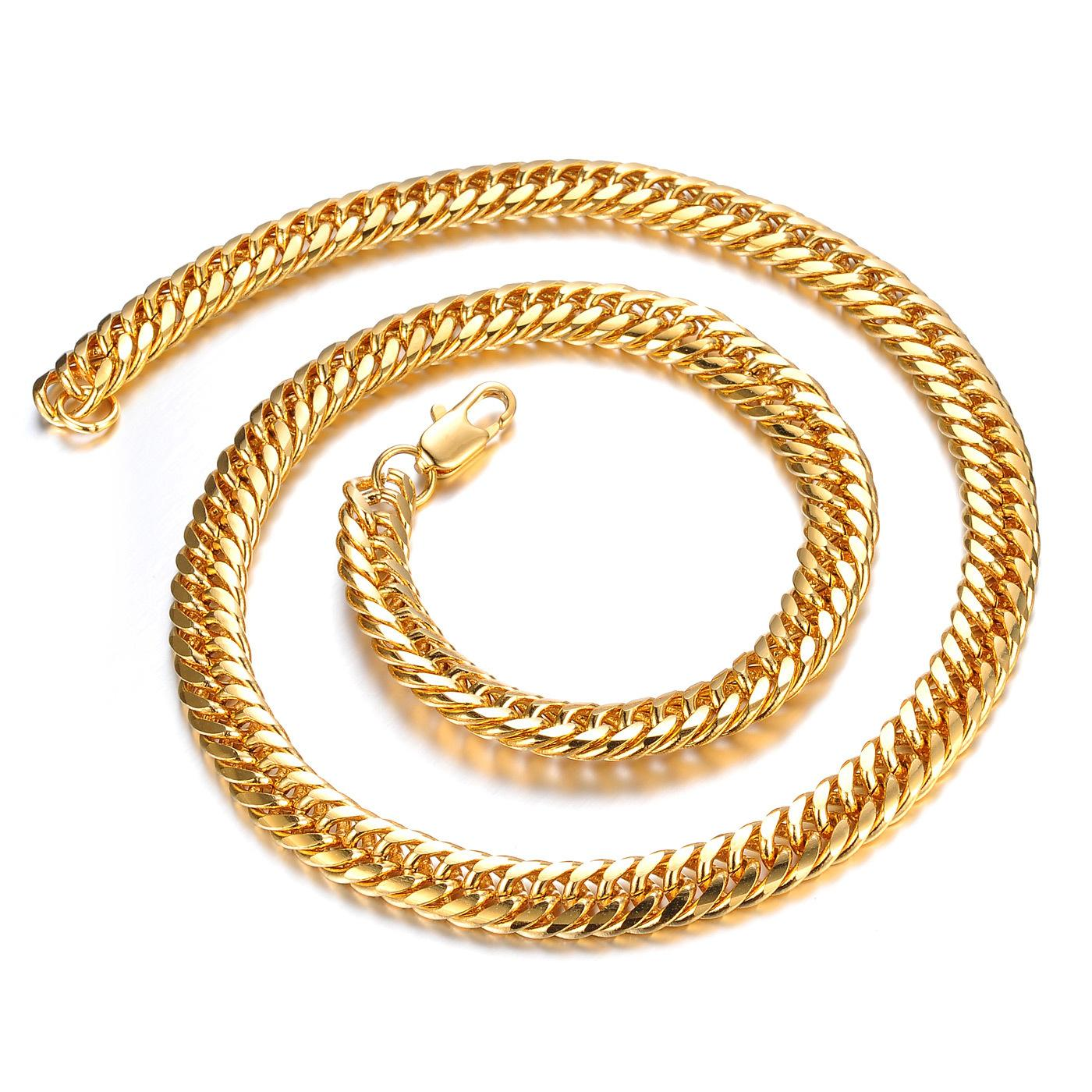 Hot Men's Classic Long 18k Yellow Gold Plated Cuban Link Chain Necklace 8  Mm Fashion Jewelry Mens Necklaces Gold Chains Xl5001