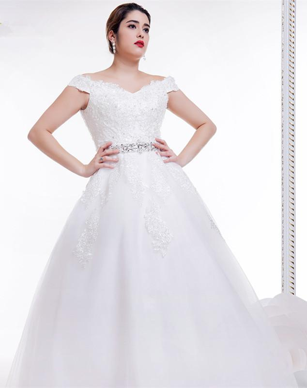 Full figured wedding dresses with lace beads a line lace for Wedding dresses for larger figures