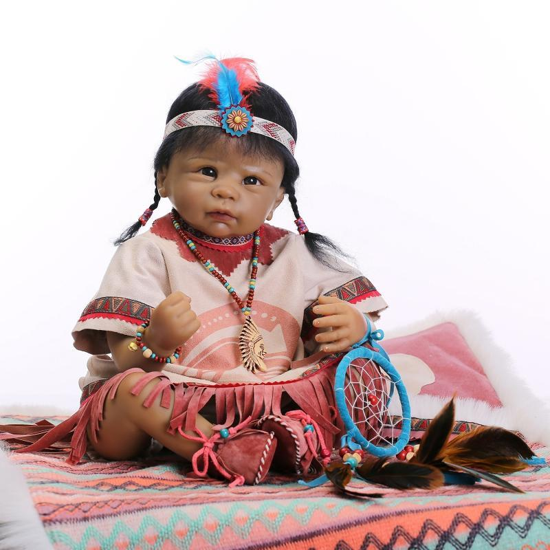 22 55cm Native American Indian Reborn Baby Doll Silicone