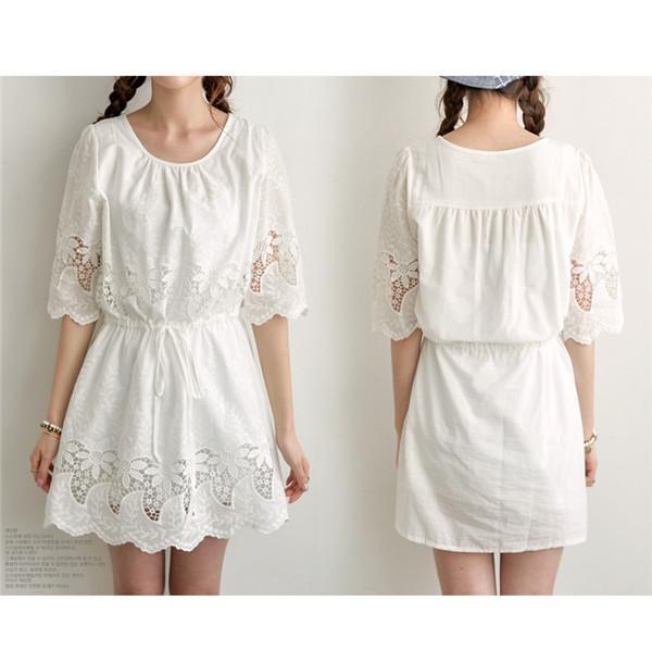 2017 2015 Summer White Lace Linen Cotton Dress Hollow Out Half ...