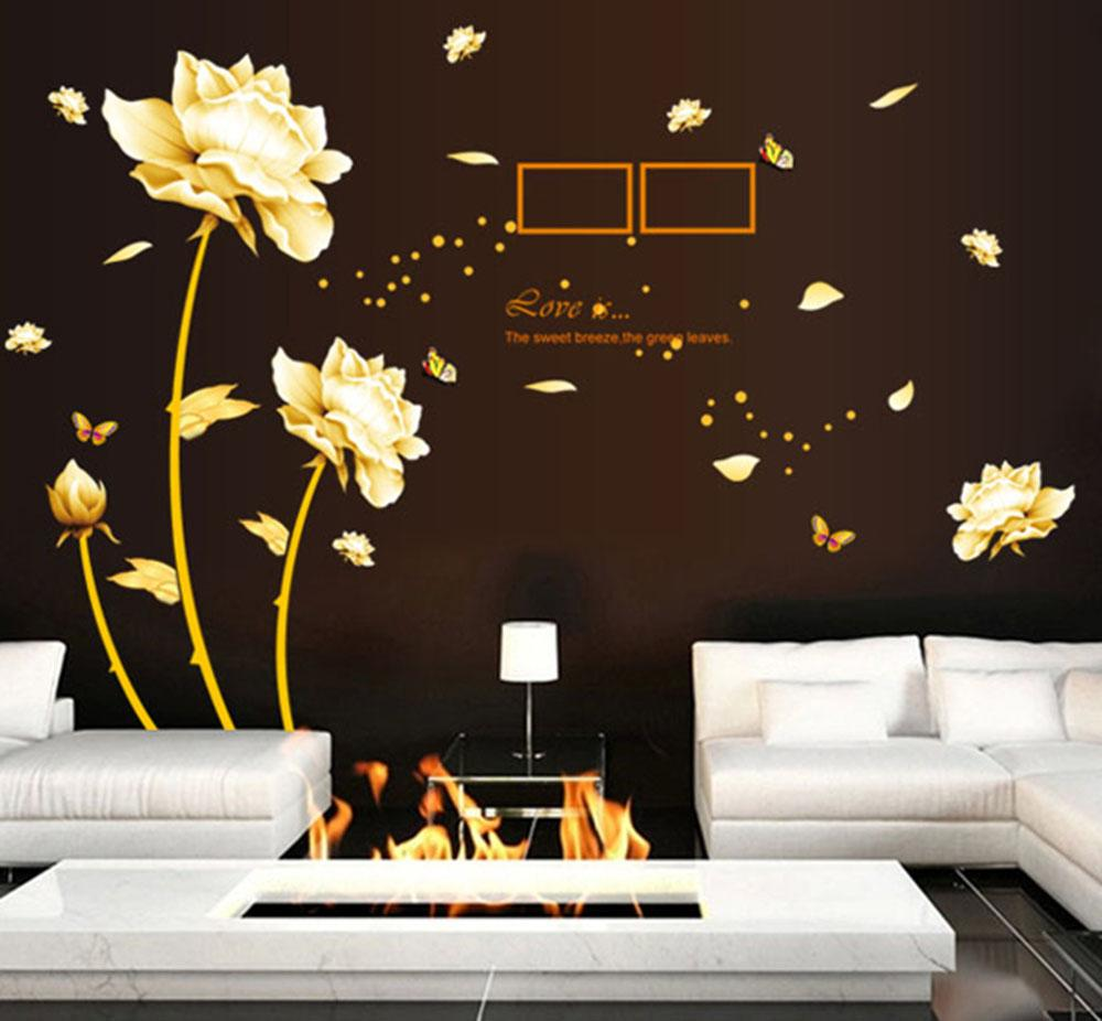 Removable wall sticker blooming flowers art decals mural for Ash wallpaper mural
