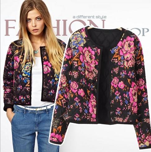 Women's Vintage Print Floral Cotton Jackets 2015 Spring Quilted ...