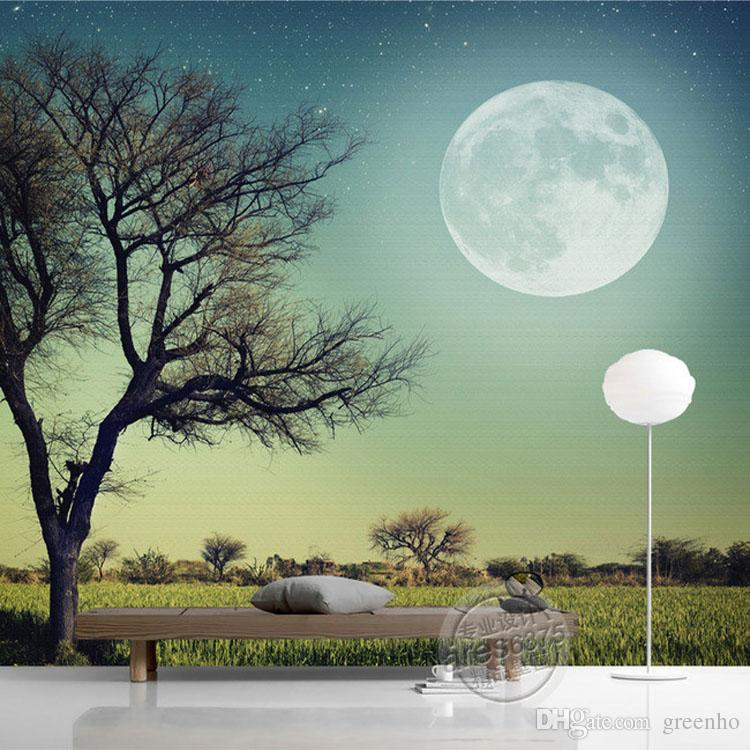Trees moon photo wallpaper custom 3d wallpaper natural for Tree wallpaper bedroom