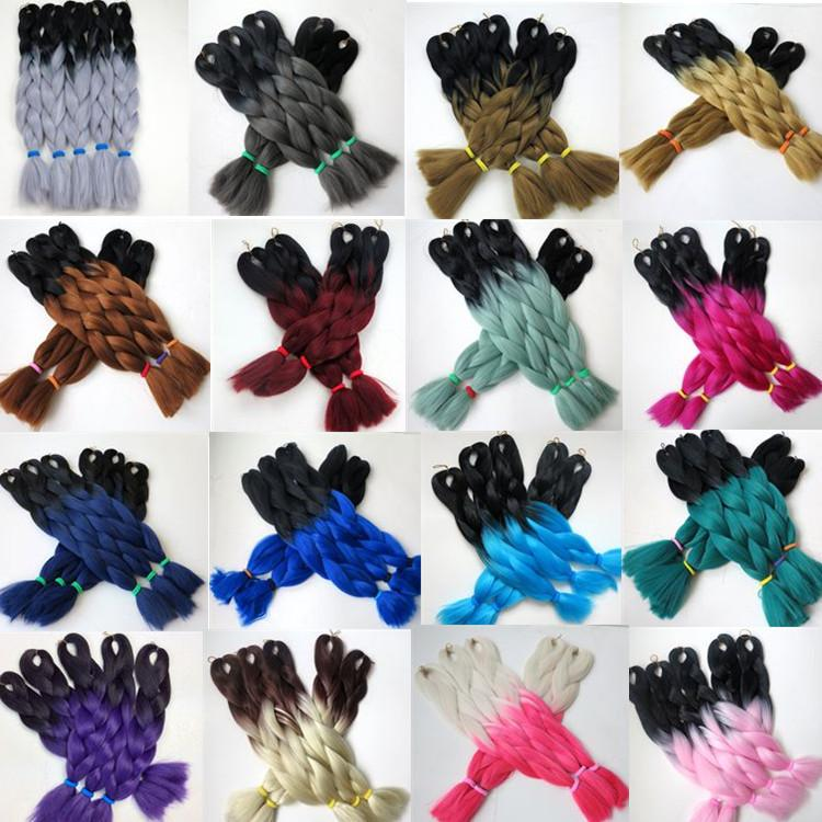 Kanekalon Jumbo synthetic braiding hair Ombre Two tone 24inch 100g Crochet Braids Twist synthetic hair extensions