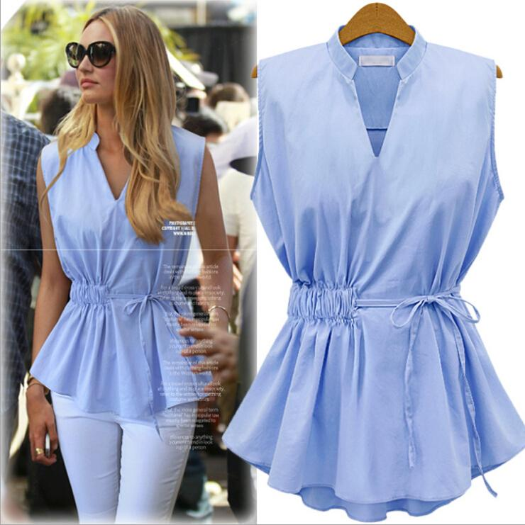 2016 New Summer Womens Blouses Fashion Style sans manches en mousseline de soie