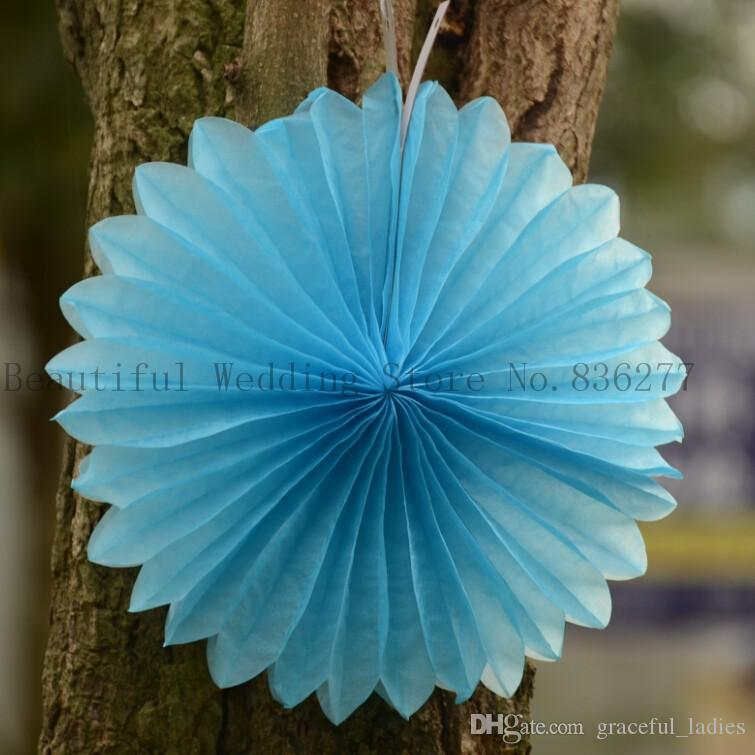 8inch Tissue Paper Fan Diy Wedding Supplies Pinwheel Backdrop Decor Inverted Flowe Origami Decorations Party Supplies