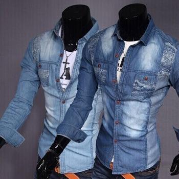 Best European Style Men Denim Blouse Jean Shirt Slim Shirt Dark ...